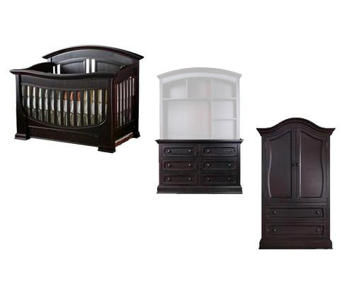 Baby Appleseed Chelmsford Collection Chelmsford 5 Piece Package: Crib, Double Dresser, Hutch, Armoire and Full Size Rails Picture