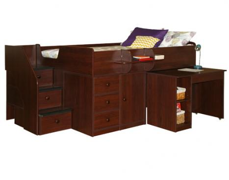 Lovely Berg Furniture Captainu0027s Full Bed With Hideaway Desk U0026 Stairs