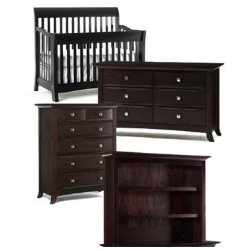 Bonavita Metro Collection Metro 4 Piece Set: Lifestyle Crib, Double Dresser, 5 Drawer Chest and Hutch Picture