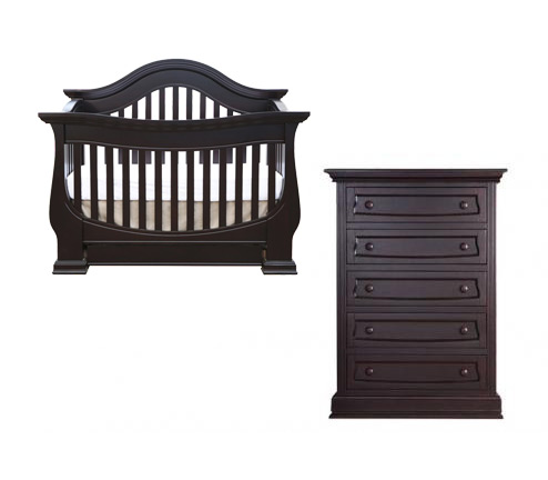 Baby Appleseed Davenport Collection Davenport 2 Piece Set: Crib and 5 Drawer Chest Picture
