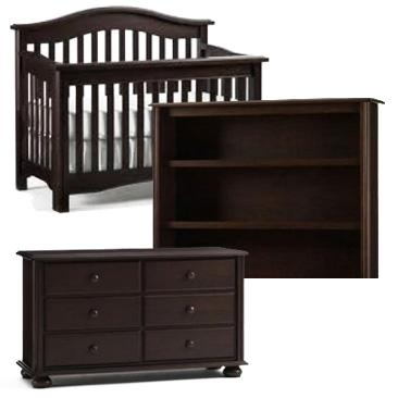 Bonavita Hudson Collection Hudson 3 Piece Set: Lifestyle Crib, Double Dresser and Hutch Picture