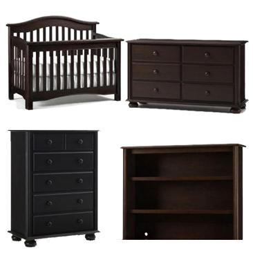 Bonavita Hudson Collection Hudson 4 Piece Set: Lifestyle Crib, Double Dresser, 5 Drawer Chest and Hutch Picture