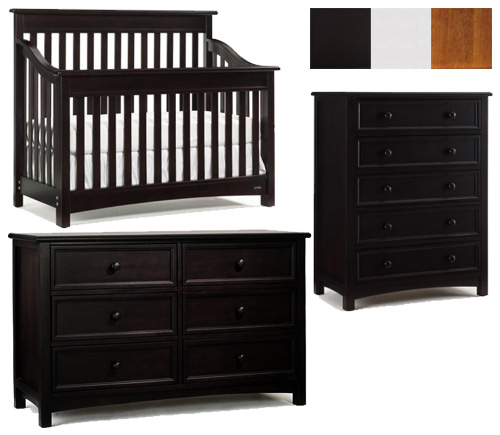 Bonavita Peyton Collection Peyton 3 Piece Set: Lifestyle Crib, Double Dresser and 5 Drawer Chest Picture
