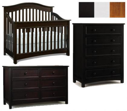 Bonavita Easton Collection Easton 3 Piece Set: Crib, Double Dresser and 5 Drawer Chest Picture