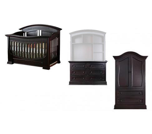 Baby Appleseed Chelmsford Collection Chelmsford 4 Piece Package: Crib, Double Dresser, Armoire and Full Size Rails Picture