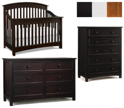 Bonavita Casey Collection Casey 3 Piece Set: Crib, Double Dresser and 5 Drawer Chest Picture