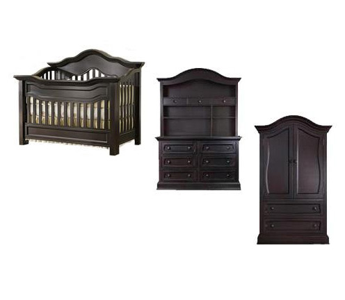 Baby Appleseed Millbury Collection Millbury 5 Piece Package: Package, Crib, Double Dresser, Hutch, Armoire and Full Size Rails Picture