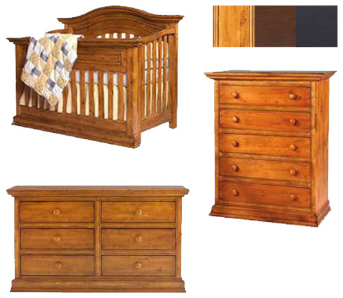 Bonavita Sheffield Collection Sheffield 3 Piece Set: Lifestyle Crib, Double Dresser and 5 Drawer Chest Picture