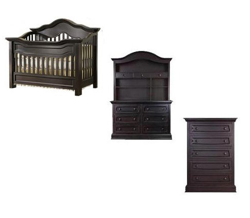Baby Appleseed Millbury Collection Millbury 4 Piece Package: Package, Crib, Double Dresser, Hutch and 5 Drawer Chest Picture
