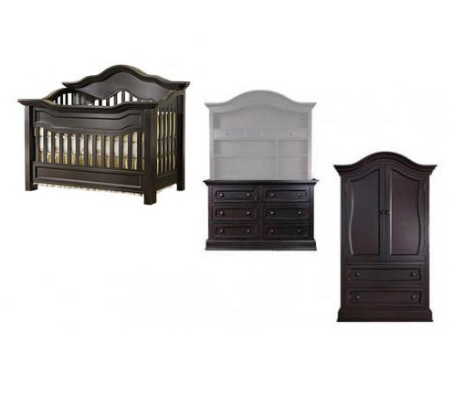 Baby Appleseed Millbury Collection Millbury 4 Piece Package: Package, Crib, Double Dresser, Armoire and Full Size Rails Picture