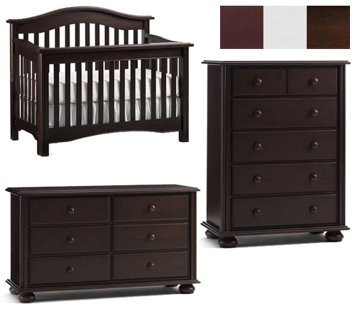 Bonavita Hudson Collection Hudson 3 Piece Set: Lifestyle Crib, Double Dresser and 5 Drawer Chest Picture