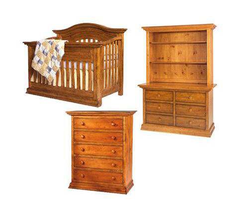 Bonavita Sheffield Collection Sheffield 4 Piece Set: Lifestyle Crib, Double Dresser, 5 Drawer Chest and Hutch Picture