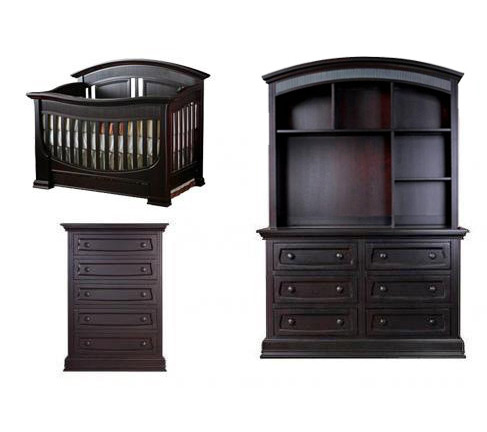 Baby Appleseed Chelmsford Collection Chelmsford 4 Piece Package: Crib, Double Dresser, 5 Drawer Chest and Hutch Picture