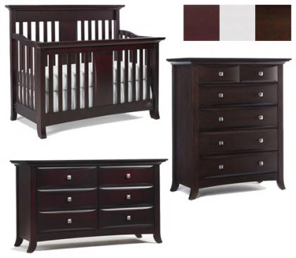 Bonavita Harper Collection Harper 3 Piece Set: Crib, Double Dresser and 5 Drawer Chest Picture