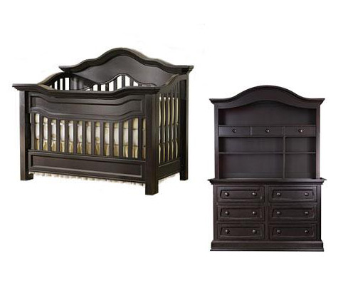 Baby Appleseed Millbury Collection Millbury 4 Piece Package: Package, Crib, Double Dresser, Hutch and Full Size Rails Picture