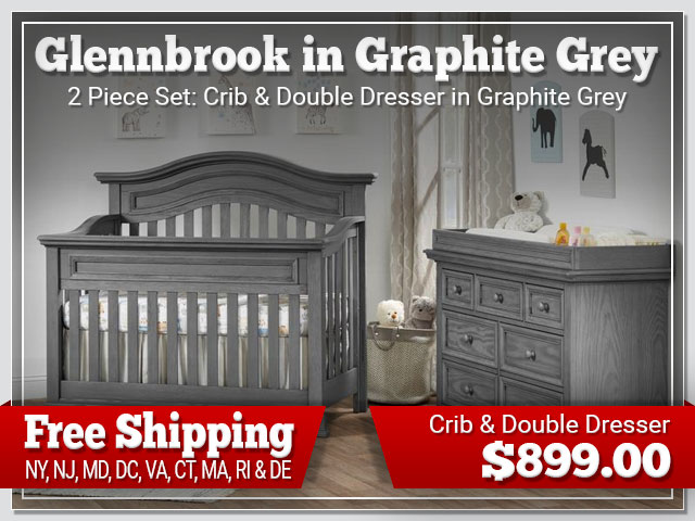 Oxford Baby Glennbrook2 piece Set: Crib and Dresser in Graphite Grey $899.00