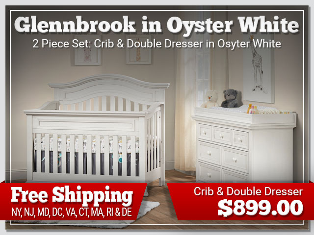 Oxford Baby Glennbrook 2 piece Set: Crib and Dresser in Oyster White $899.00