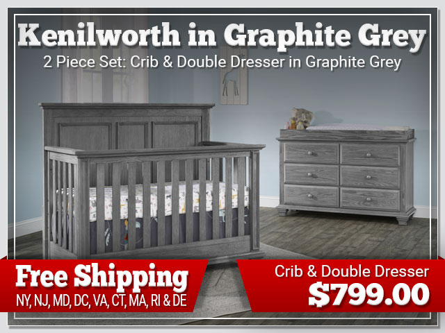 Oxford Baby Kenilworth 2 piece Set: Crib and Dresser in Graphite Grey $899.00