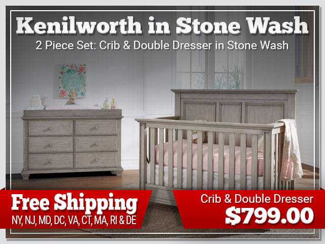 Oxford Baby Kenilworth 2 piece Set: Crib and Dresser in Stone Wash $899.00