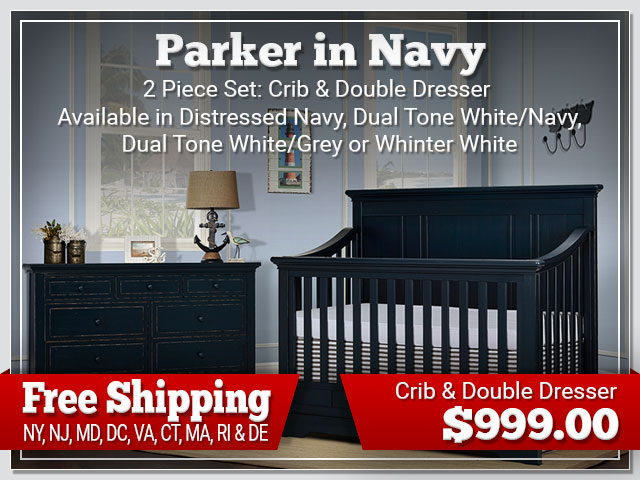 Evolur Parker in Navy 2 piece Set: Crib and Dresser $899.00