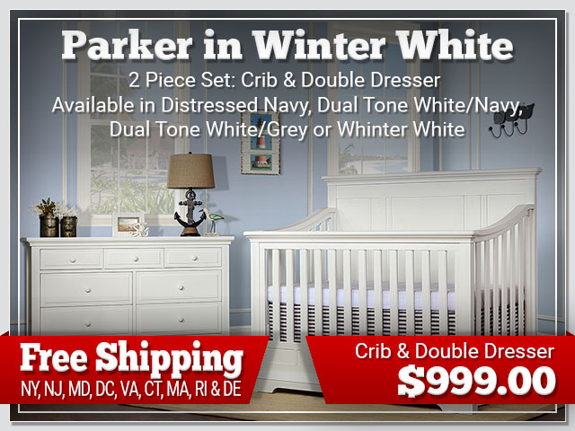 Evolur Parker in White 2 piece Set: Crib and Dresser $899.00