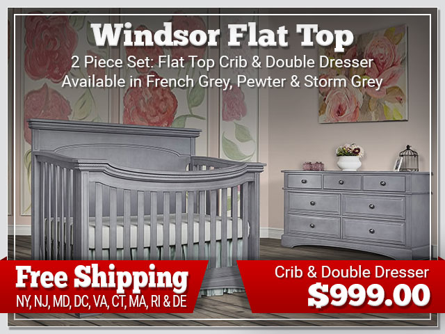 Evolur WIndsor Flat Top 2 piece Set: Crib and Dresser $899.00